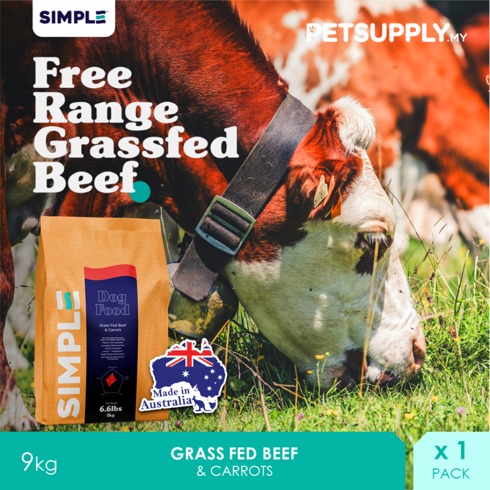 SIMPLE Grass Fed Beef & Carrots 9KG