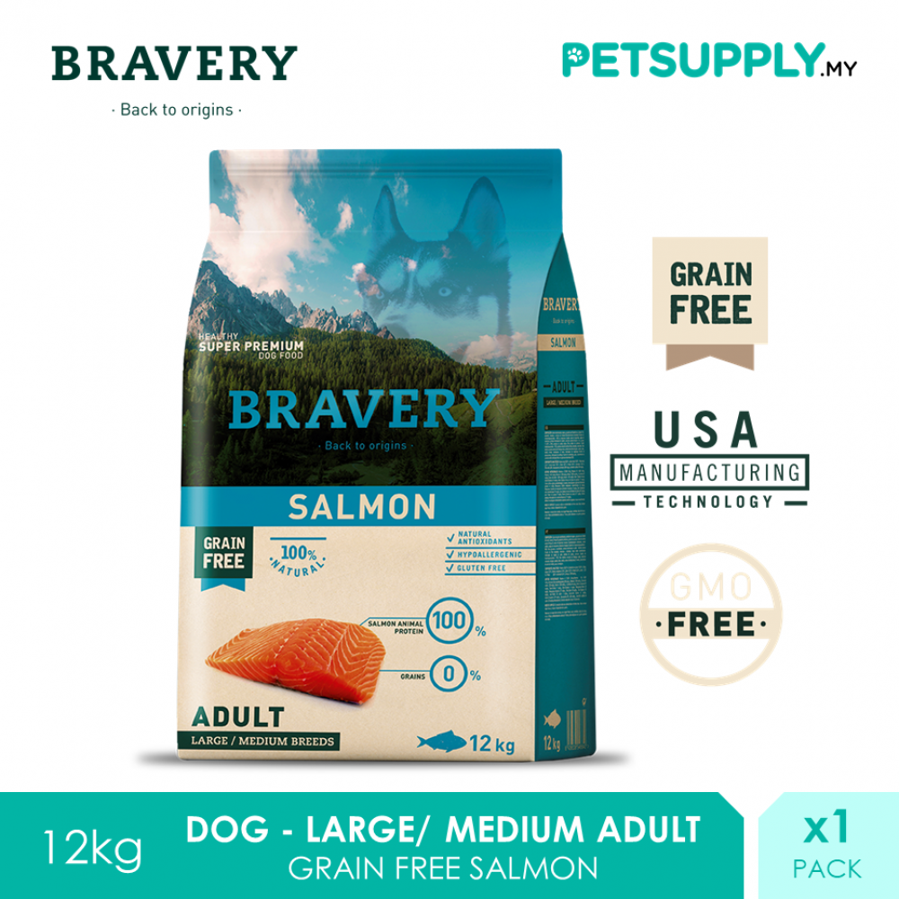 BRAVERY Large/ Medium Adult Dog Food 12kg (Salmon)