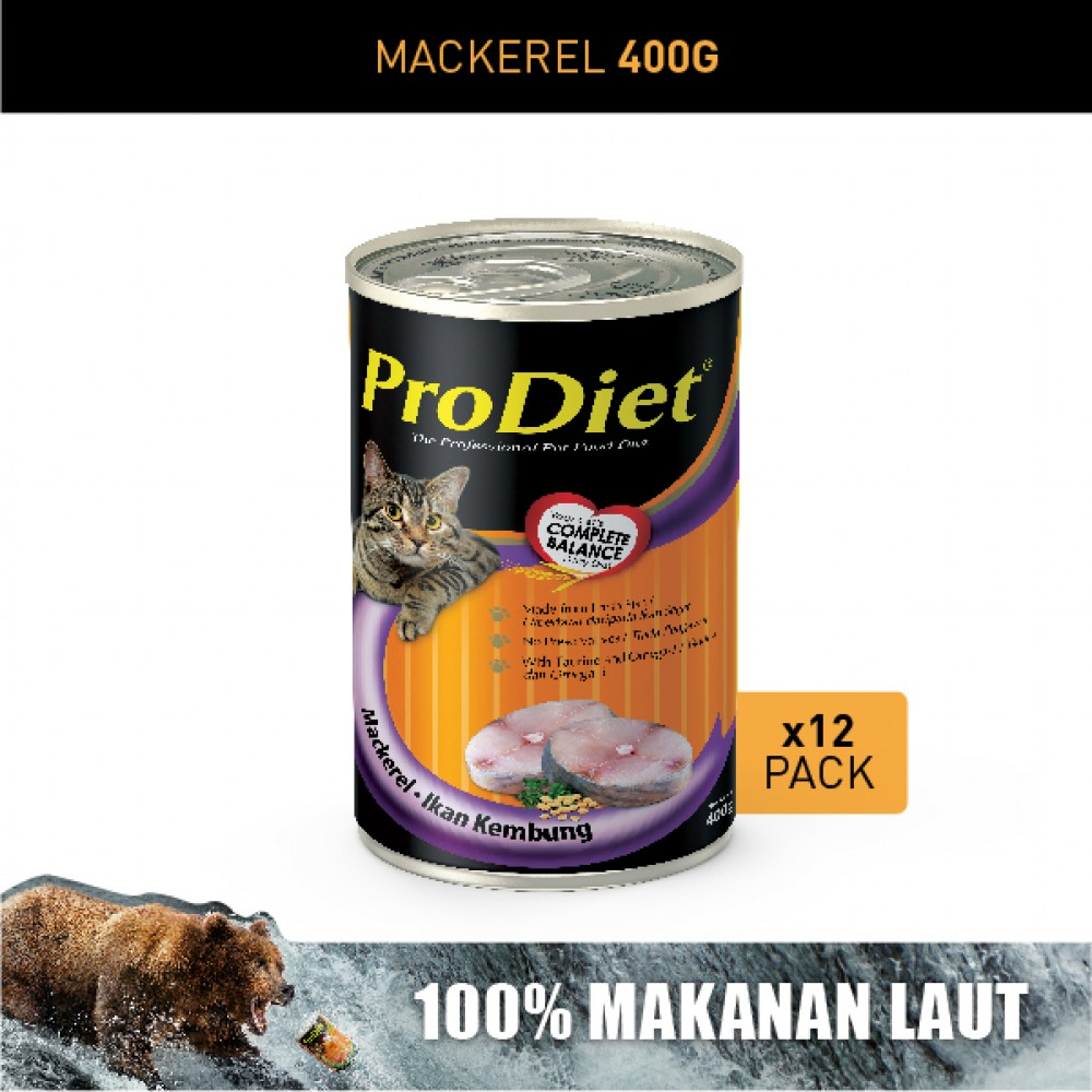 ProDiet 400G Mackerel Wet Cat Food X 12 Cans